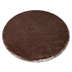 Moderner Waschteppich LAPIN Kreis Shaggy, Antirutsch elfenbein / Schokolade