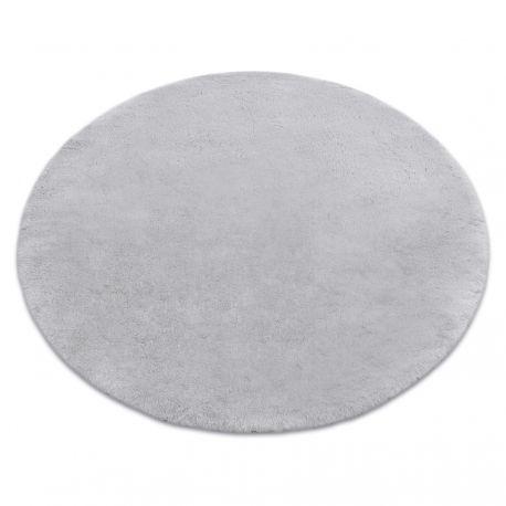 Modern tvättmatta TEDDY cirkel shaggy, plysch, mycket tjock halkskydd grå