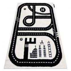 Dywan dziecięcy JOY City miasto, uliczki dla dzieci - Strukturalny, dwa poziomy runa krem / czarny