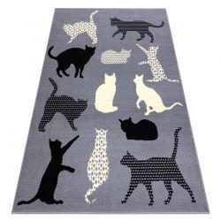 Alfombra BCF FLASH Cats 3996 - Gatos, gatitos gris