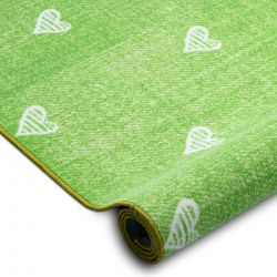 Wykładzina dywanowa dla dzieci HEARTS Jeans, przecierana serca, serduszka, dziecięca - zieleń