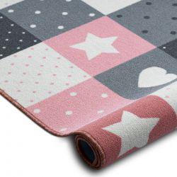 Wykładzina dywanowa dla dzieci STARS gwiazdy, gwiazdki, dziecięca, różowy / szary