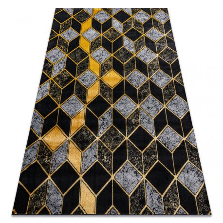 Tappeto GLOSS moderno 400B 86 elegante, glamour, art deco, 3D geometrico nero / oro