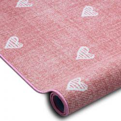 Wykładzina dywanowa dla dzieci HEARTS Jeans, przecierana serca, serduszka, dziecięca - różowy