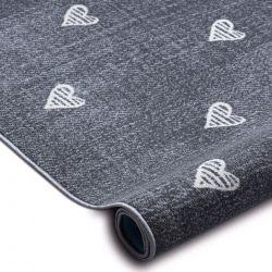 Wykładzina dywanowa dla dzieci HEARTS Jeans, przecierana serca, serduszka, dziecięca - szary