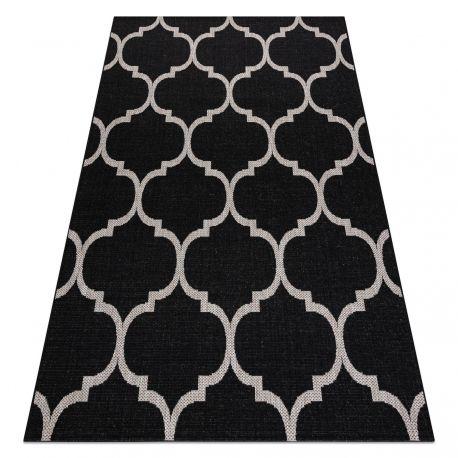 DYWAN SZNURKOWY SIZAL FLOORLUX 20608 , koniczyna marokańska, trellis czarny / srebrny