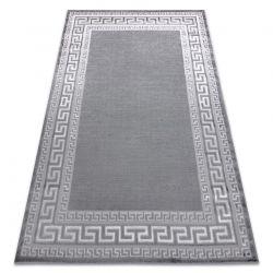 Moderní MEFE koberec 2813 vzor rámu, řecký klíč - Strukturální, dvě úrovně rouna šedá