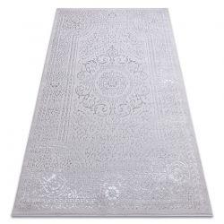 Moderní MEFE koberec 8373 Ornament, rám - Strukturální, dvě úrovně rouna šedá