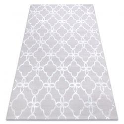 Moderní MEFE koberec 8504 Jetel, Květiny - Strukturální, dvě úrovně rouna šedá / bílá