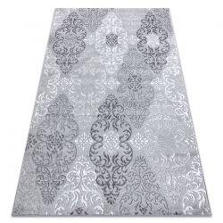Moderní MEFE koberec 8734 Ornamenty-Strukturální, dvě úrovně rouna šedá