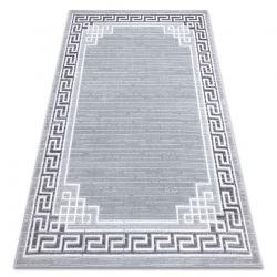 Moderní MEFE koberec 9096 vzor rámu, řecký klíč - Strukturální, dvě úrovně rouna šedá