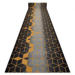 Alcatifa do corredor com reforço de borracha HEKSAGON Hexágono preto / ouro