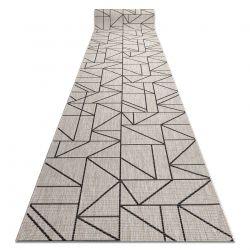 Sizal futó szőnyeg FLOORLUX minta 20605 HÁROMSZÖGEK, GEOMETRIAI ezüst / fekete
