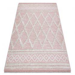 Dywan MOROC Romby 22297 Ekologiczny, EKO SIZAL frędzle - dwa poziomy runa różowy / krem, dywan z bawełny recyklingowanej