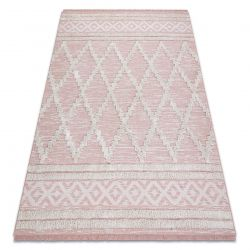 Teppich ÖKO SISAL BOHO MOROC Diamanten 22297 Franse - zwei Ebenen aus Vlies rosa / creme, recycelter Teppich
