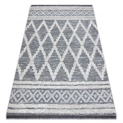 Fonott Sizal szőnyeg boho MOROC gyémánt 22297 rojt - két szintű gyapjú szürke / krém, újrahasznosított szőnyeg