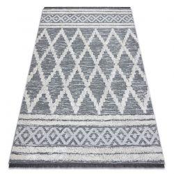Teppich ÖKO SISAL BOHO MOROC Diamanten 22297 Franse - zwei Ebenen aus Vlies grau / creme, recycelter Teppich