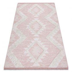 Teppich ÖKO SISAL BOHO MOROC Diamanten 22312 Franse - zwei Ebenen aus Vlies rosa / creme, recycelter Teppich
