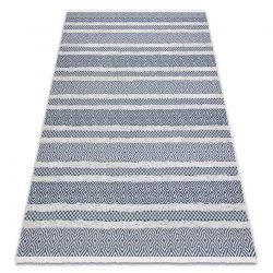 Fonott Sizal szőnyeg boho MOROC Vonalak 22328 rojt - két szintű gyapjú krém / sötétkék, újrahasznosított szőnyeg