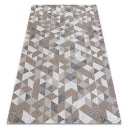 Fonott Sizal CASA Eco szőnyeg boho háromszögek 2816 sárga / taupe, újrahasznosított szőnyeg
