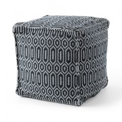 Pouffe Négyzetes 50 x 50 x 50 cm Boho 22075 lábtartó, fekete / világos szürke