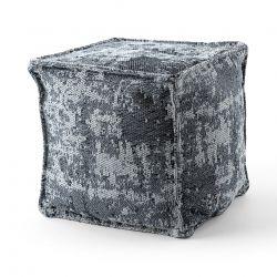 Pufa KWADRAT puf 50 x 50 x 50 cm pufa Boho 2809 podnóżek, do siedzenia jasnoszary / antracyt