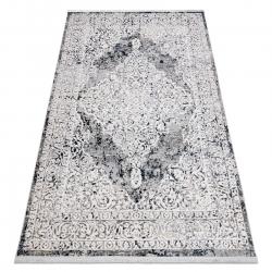 Modern REBEC szőnyeg rojt 51122A - két szintű gyapjú krém / sötétkék