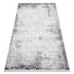 Modern REBEC szőnyeg rojt 51172A - két szintű gyapjú krém / sötétkék