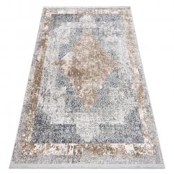 Modern REBEC szőnyeg rojt 51191B - két szintű gyapjú krém / sötétkék
