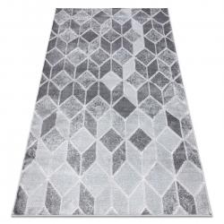Modern MEFE szőnyeg B400 Kocka, geometriai 3D - Structural két szintű gyapjú sötétszürke