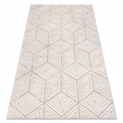 Modern MEFE carpet B403 Cube, geometric 3D - structural two levels of fleece cream / beige