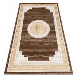 Modern MEFE carpet 9096 Frame, greek key - structural two levels of fleece beige / brown