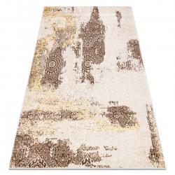 Modern MEFE carpet 8731 Rosette vintage - structural two levels of fleece beige / gold