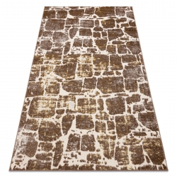 Modern MEFE carpet 6184 Paving brick - structural two levels of fleece dark beige