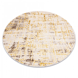 Moderný MEFE okrúhly koberec 8722 Pásy vintage - Štrukturálny, dve vrstvy rúna béžová / zlatá