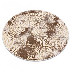 Modern MEFE carpet circle 8724 Ornament, vintage - structural two levels of fleece beige / gold