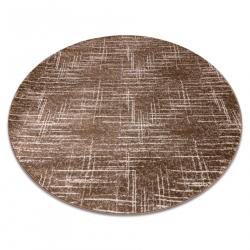 Moderný MEFE okrúhly koberec 9401 Pásy vintage - Štrukturálny, dve vrstvy rúna béžová / hnedá