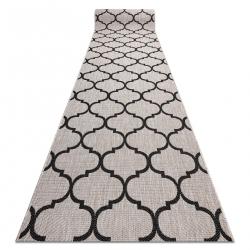 Sizal futó szőnyeg FLOORLUX minta 20608 marokkói rácsos ezüst / fekete