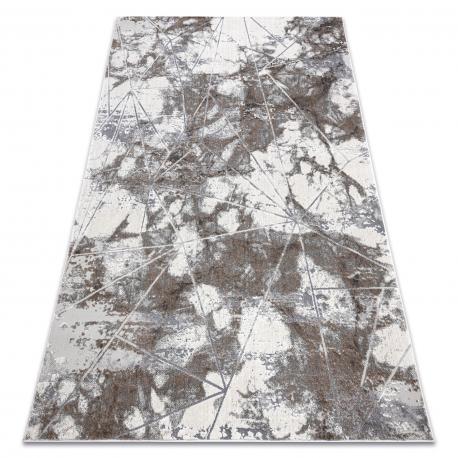 Moderný koberec NOBLE 1515 64 Mramor, geometrický - Štrukturálny, dve vrstvy rúna, krémová sivá