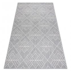 Koberec FLAT SISAL 48731637 Námestie diamant, geometrický sivá / krémová