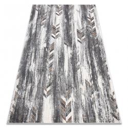Moderný koberec NOBLE 9732 47 Rybia kosť vintage - Štrukturálny, dve vrstvy rúna , sivá / béžová