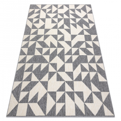 Koberec SPRING 20409332 trojuholníky Sisalový, slučkový - sivý / cremă