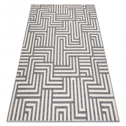 Koberec SPRING 20421332 labyrint Sisalový, slučkový - krémová / gri