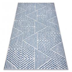 Koberec COLOR 47176360 SISAL riadky, trojuholníky, zigzag béžová / modrý