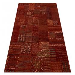 Vlnený koberec KASHQAI 4329 300 patchwork, zlátanina vin roșu