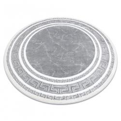 Okrúhly koberec GLOSS moderný 2813 27 štýlový, rám, Grécky sivá