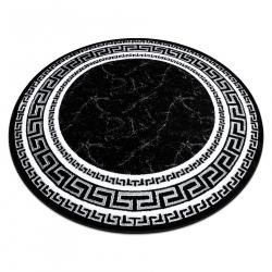 Okrúhly koberec GLOSS moderný 2813 87 štýlový, rám, Grécky čierna