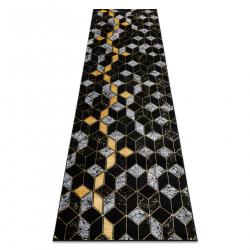 Koberec, Behúň GLOSS moderný 400B 86 štýlový, glamour, art deco, 3D geometrický čierna / zlatá
