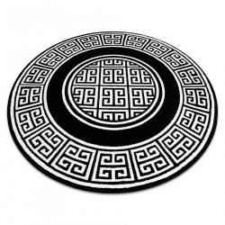 Okrúhly koberec GLOSS moderný 6776 85 štýlový, rám, Grécky čierna / slonová kosť