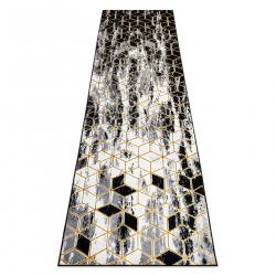 Koberec, Behúň GLOSS moderný 409A 82 Kocky štýlový, glamour, art deco čierna / sivá / zlatá